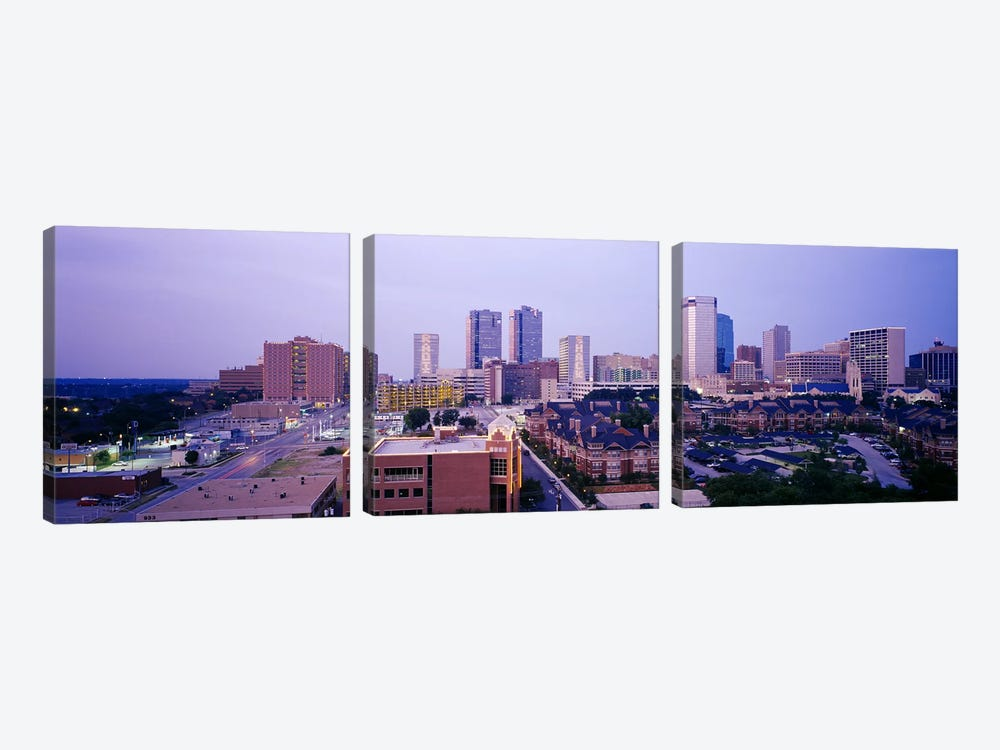 Skyscrapers in a city at dusk, Fort Worth, Texas, USA by Panoramic Images 3-piece Canvas Wall Art
