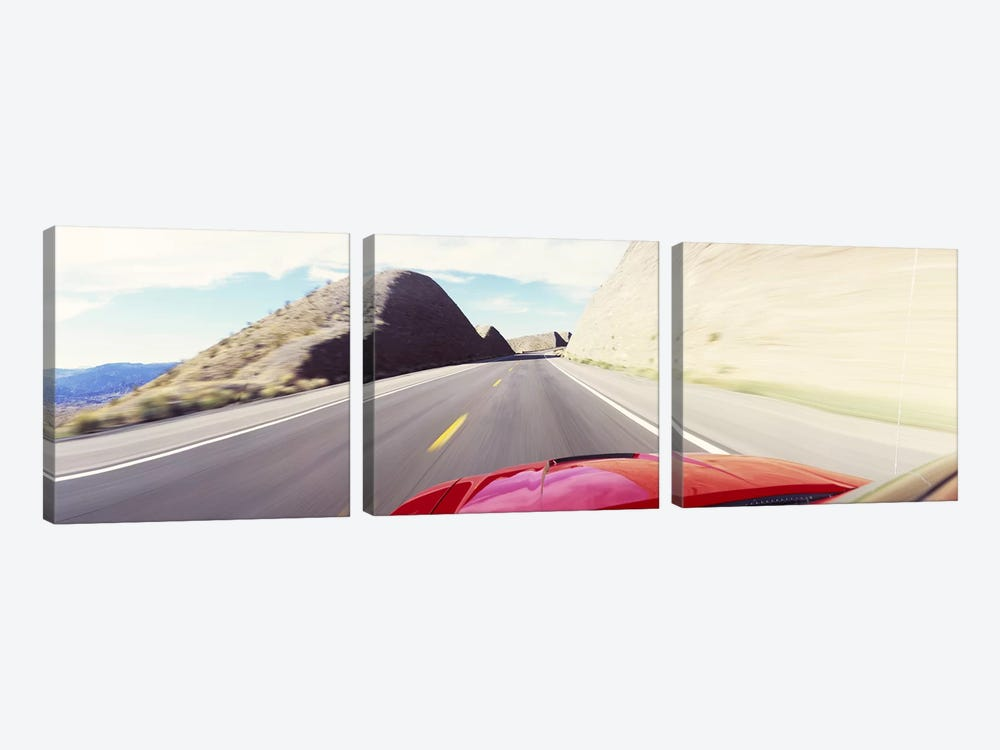 Car on a road, outside Las Vegas, Nevada, USA by Panoramic Images 3-piece Art Print