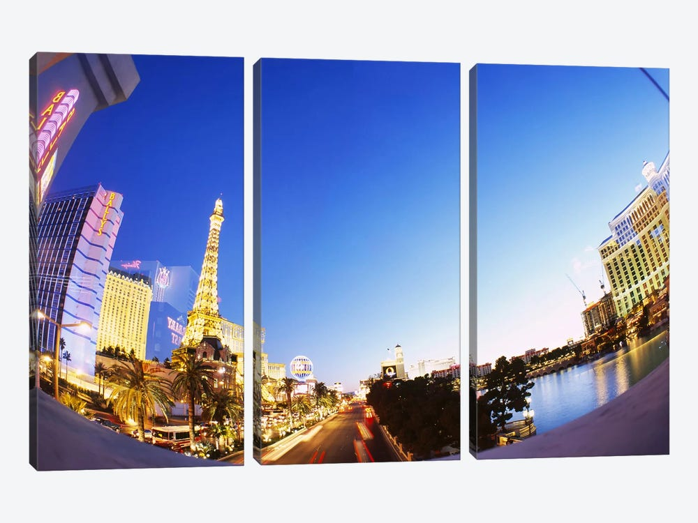 Buildings lit up at dusk, Las Vegas, Nevada, USA #3 by Panoramic Images 3-piece Canvas Artwork