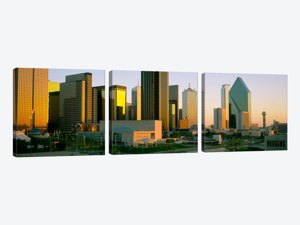 Skyscrapers in a city, Dallas, Texas, USA #3 by Panoramic Images 3-piece Canvas Art Print