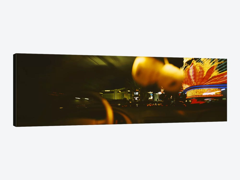 Buildings lit up at night viewed through a car, Las Vegas, Nevada, USA by Panoramic Images 1-piece Canvas Art Print
