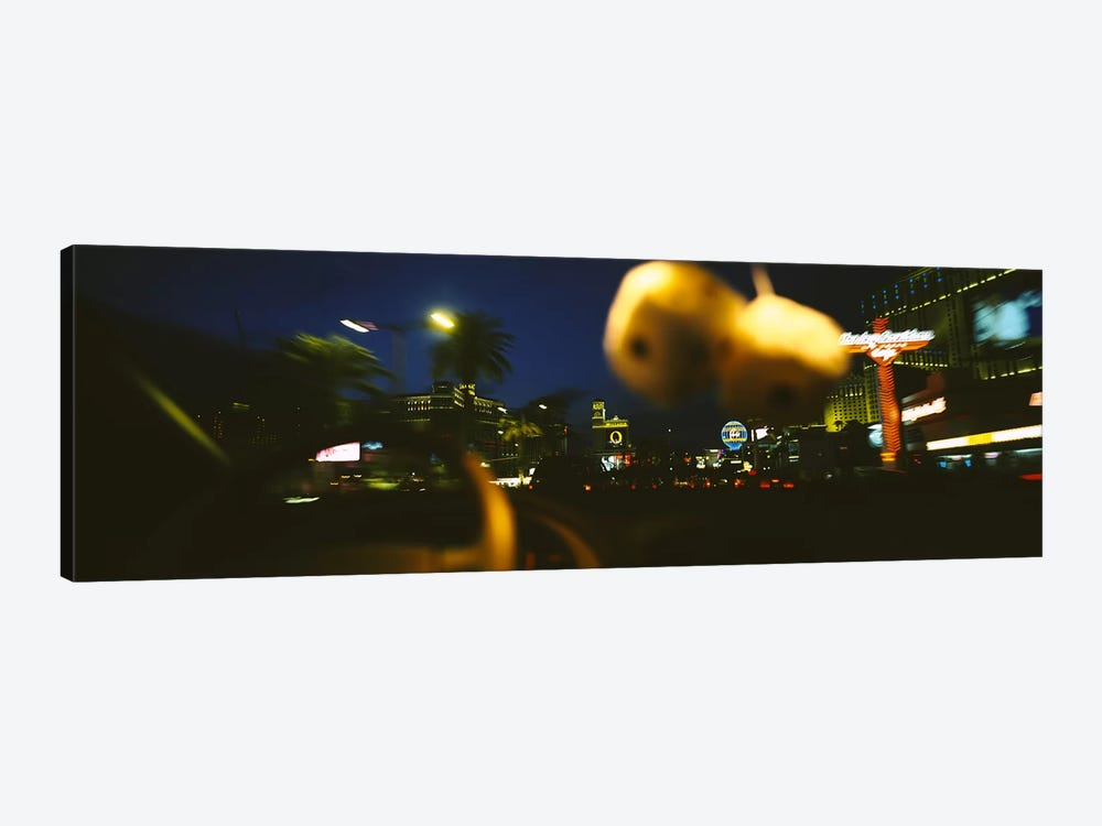 Buildings lit up at night viewed through a car, Las Vegas, Nevada, USA #2 by Panoramic Images 1-piece Canvas Artwork