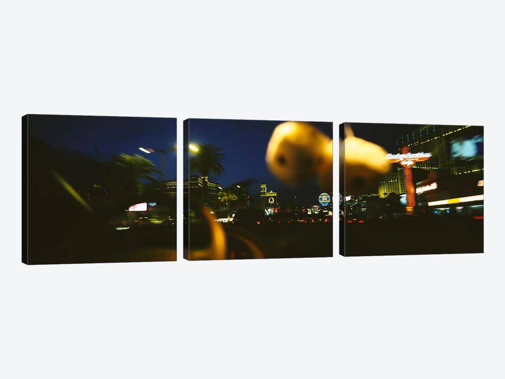 Buildings lit up at night viewed through a car, Las Vegas, Nevada, USA #2 by Panoramic Images 3-piece Canvas Artwork