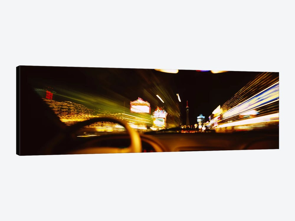 Car on a road at night, Las Vegas, Nevada, USA by Panoramic Images 1-piece Canvas Art Print