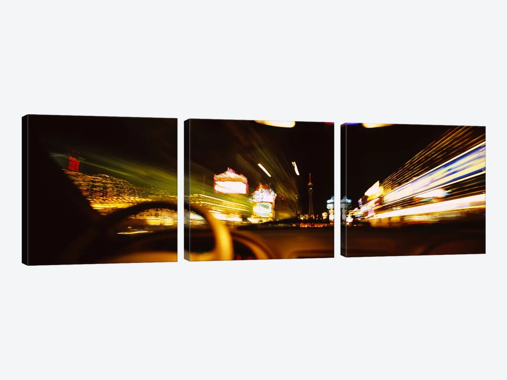 Car on a road at night, Las Vegas, Nevada, USA by Panoramic Images 3-piece Art Print