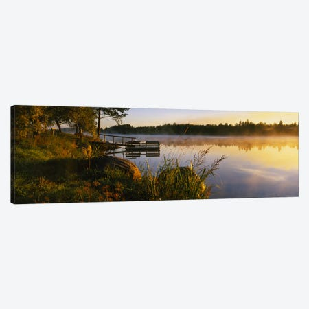 Foggy Morning Along The Vuoksi River, Imatra, Finland 3-Piece Canvas #PIM6317} by Panoramic Images Canvas Art Print