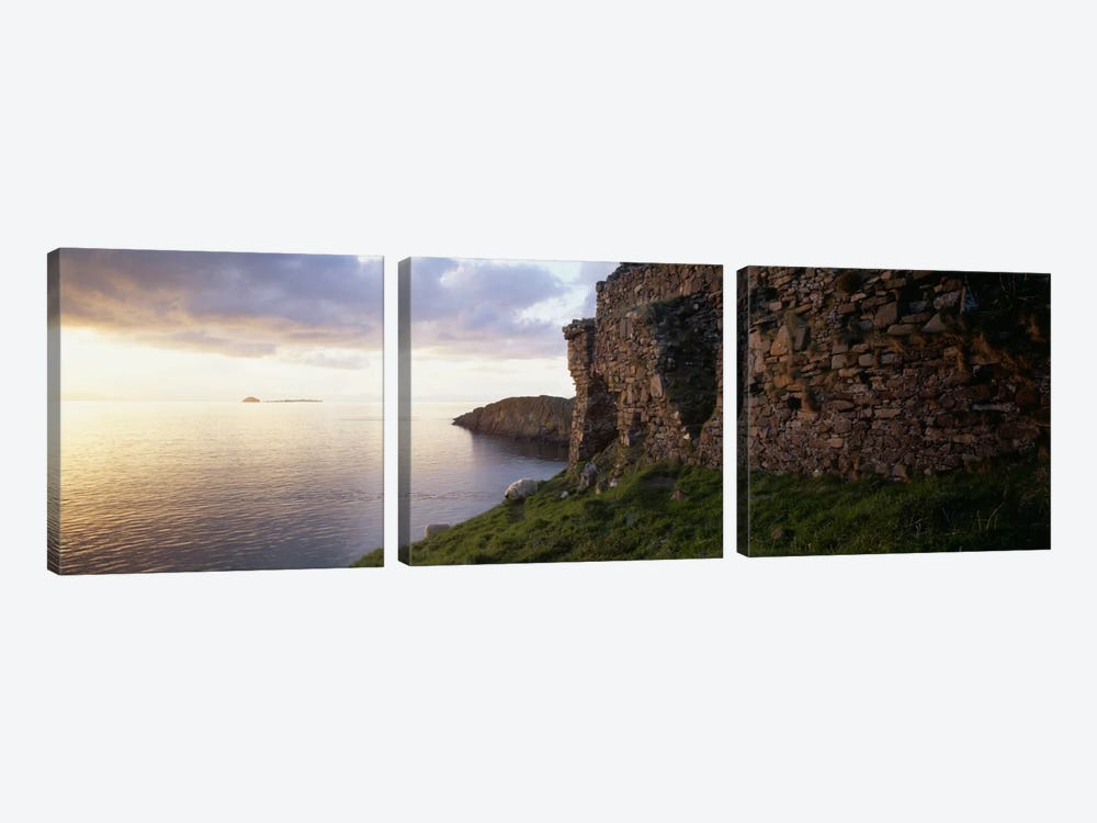 Duntulm Castle Ruins & Tulm Island, Trotternish, Isle Of Skye, Scotland by Panoramic Images 3-piece Canvas Wall Art