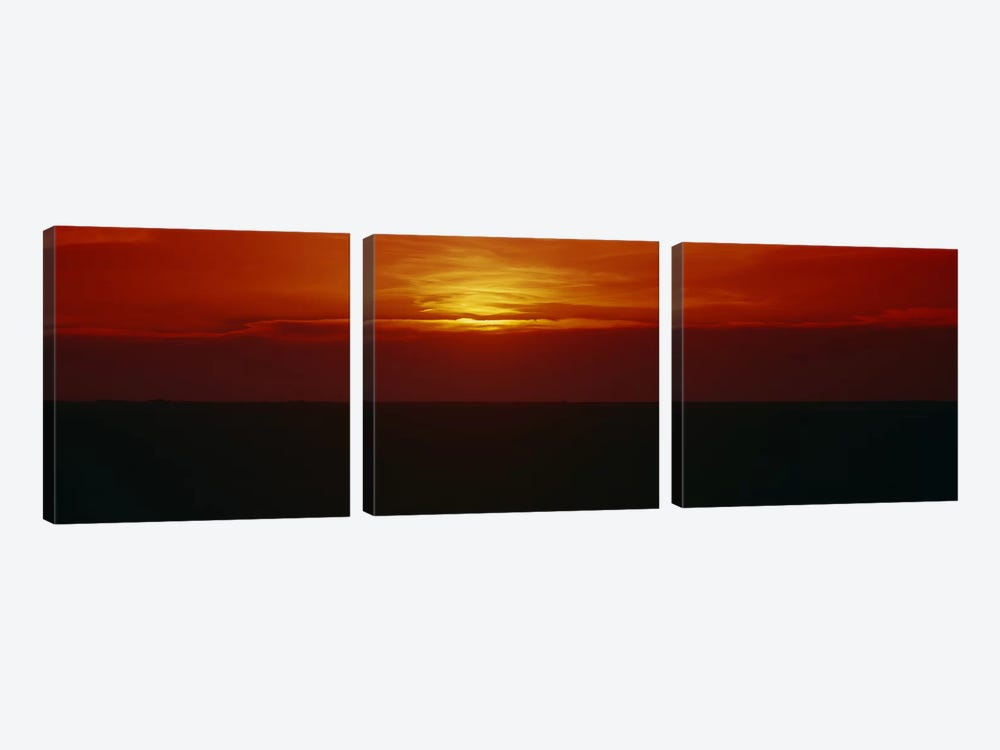 Magnificent Red Sunset, Carson County, Texas, USA by Panoramic Images 3-piece Canvas Wall Art