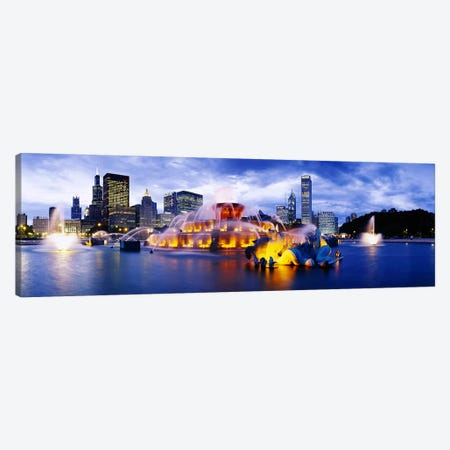 Fountain lit up at dusk, Buckingham Fountain, Grant Park, Chicago, Illinois, USA Canvas Print #PIM6323} by Panoramic Images Canvas Art Print