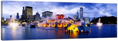 Fountain lit up at dusk, Buckingham Fountain, Grant Park, Chicago, Illinois, USA Canvas Art Print