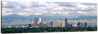 Clouds over skyline and mountains, Denver, Colorado, USA Canvas Art Print