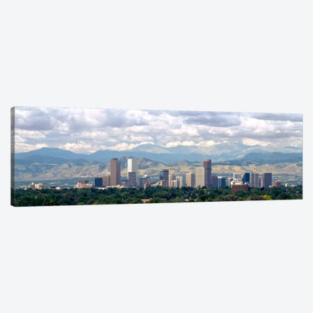 Clouds over skyline and mountains, Denver, Colorado, USA Canvas Print #PIM6324} by Panoramic Images Canvas Wall Art