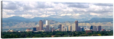 Clouds over skyline and mountains, Denver, Colorado, USA Canvas Art Print