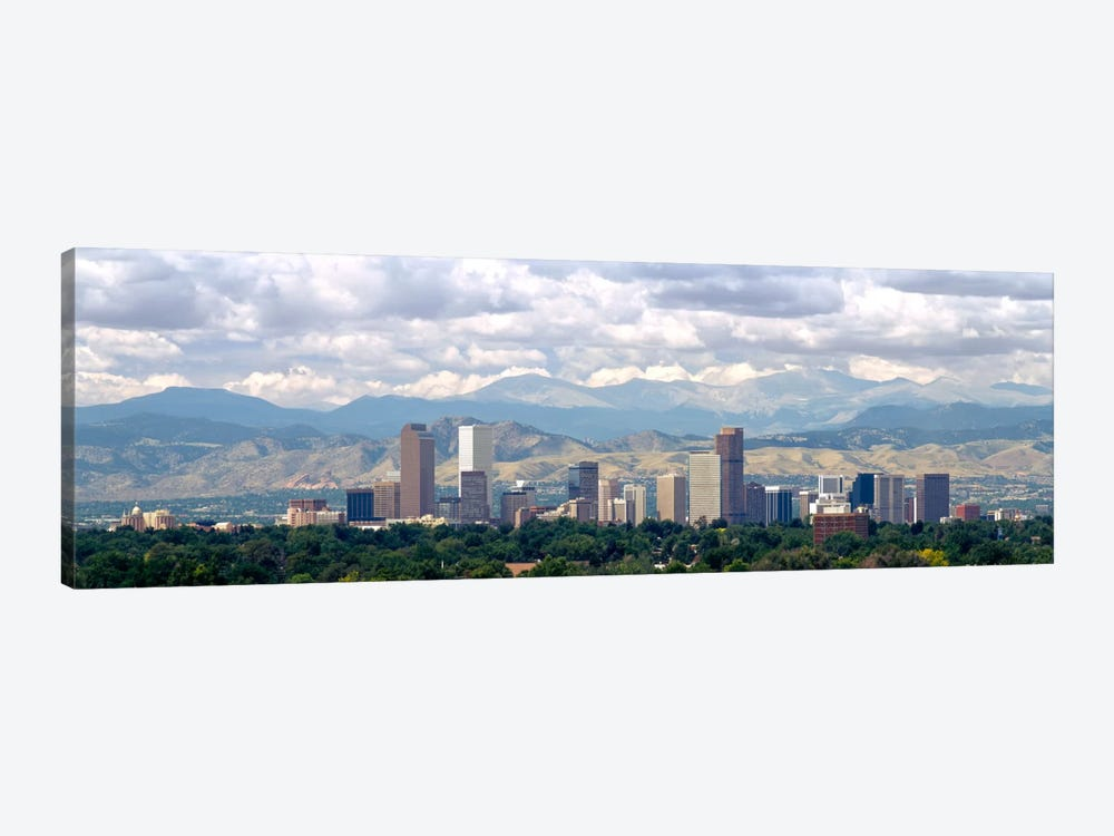 Clouds over skyline and mountains, Denver, Colorado, USA by Panoramic Images 1-piece Canvas Art