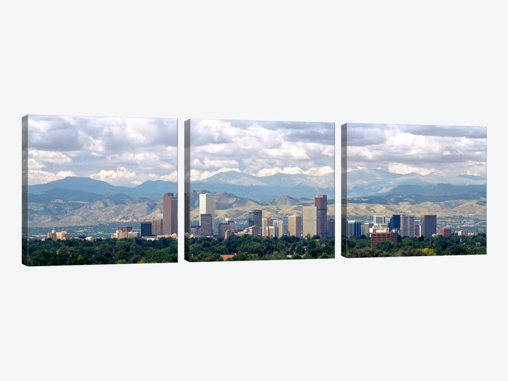 Clouds over skyline and mountains, Denver, Colorado, USA by Panoramic Images 3-piece Canvas Artwork