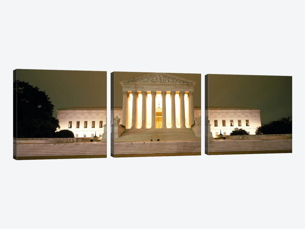 Supreme Court Building illuminated at night, Washington DC, USA by Panoramic Images 3-piece Canvas Art