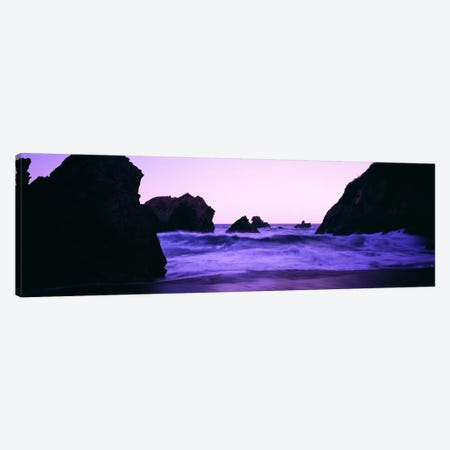 Crashing Waves Under A Purple Dusk, Santa Cruz Coast, California, USA Canvas Print #PIM6339} by Panoramic Images Canvas Wall Art