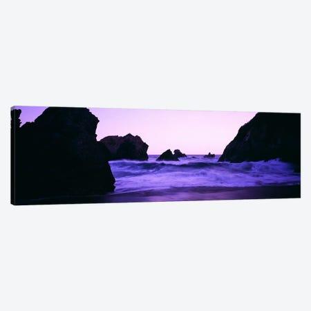 Crashing Waves Under A Purple Dusk, Santa Cruz Coast, California, USA Canvas Print #PIM6339} by Panoramic Images Canvas Wall Art