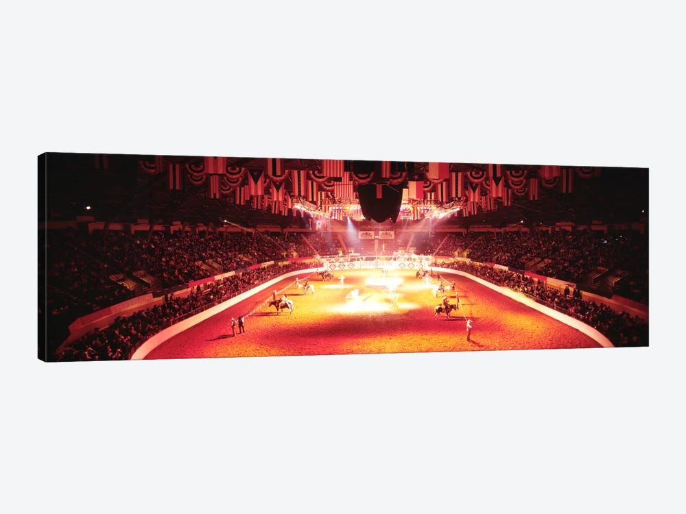 Group of people performing with horses in a stadium, 100th Stock Show And Rodeo, Fort Worth, Texas, USA by Panoramic Images 1-piece Canvas Artwork