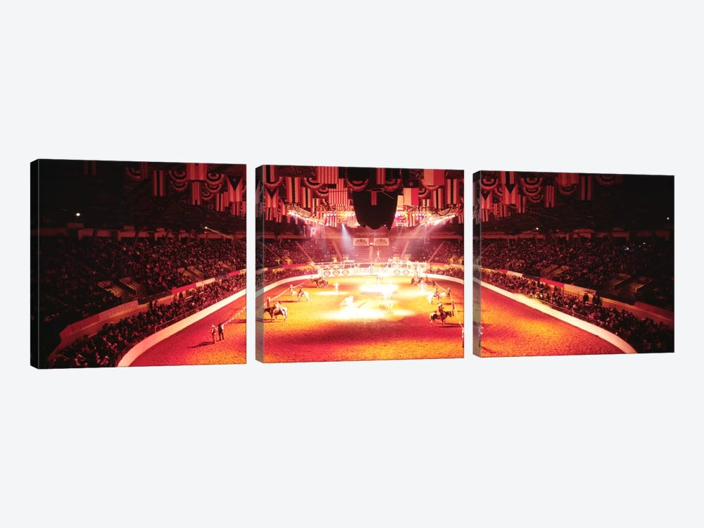 Group of people performing with horses in a stadium, 100th Stock Show And Rodeo, Fort Worth, Texas, USA by Panoramic Images 3-piece Canvas Wall Art