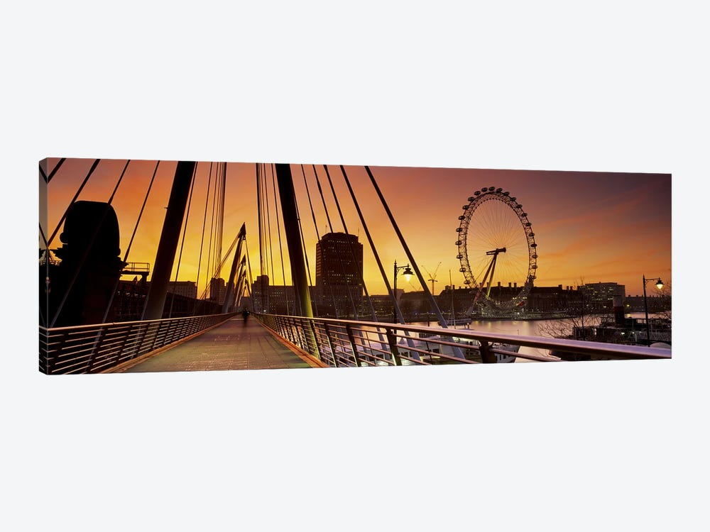 London Eye (Millenium Wheel) And South Bank As Seen From Golden Jubilee Bridge, Lambeth, London, England by Panoramic Images 1-piece Art Print