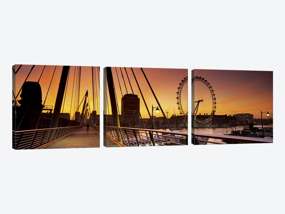 London Eye (Millenium Wheel) And South Bank As Seen From Golden Jubilee Bridge, Lambeth, London, England by Panoramic Images 3-piece Art Print