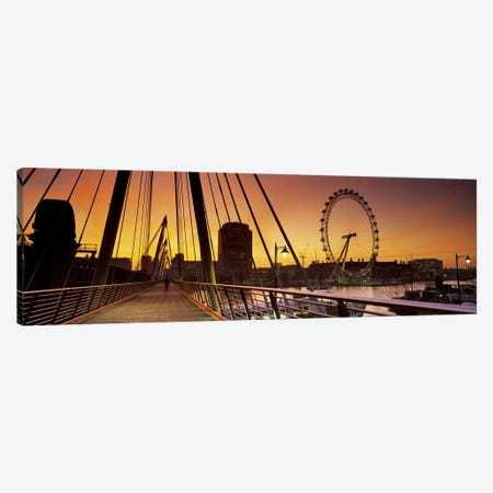 London Eye (Millenium Wheel) And South Bank As Seen From Golden Jubilee Bridge, Lambeth, London, England Canvas Print #PIM6343} by Panoramic Images Canvas Print