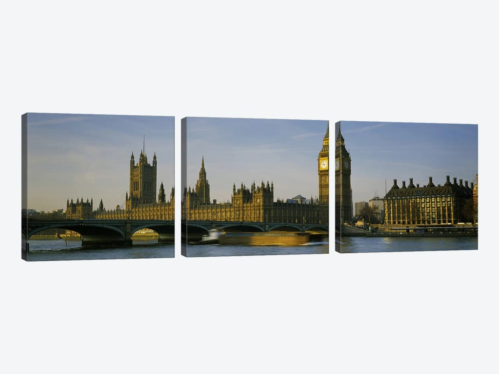 Palace Of Westminster, Westminster Bridge & Portcullis House, London, England by Panoramic Images 3-piece Canvas Wall Art