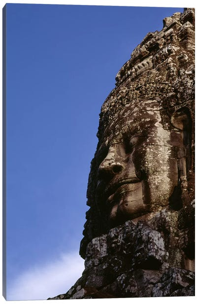 Low angle view of a face carving, Angkor Wat, Cambodia Canvas Art Print