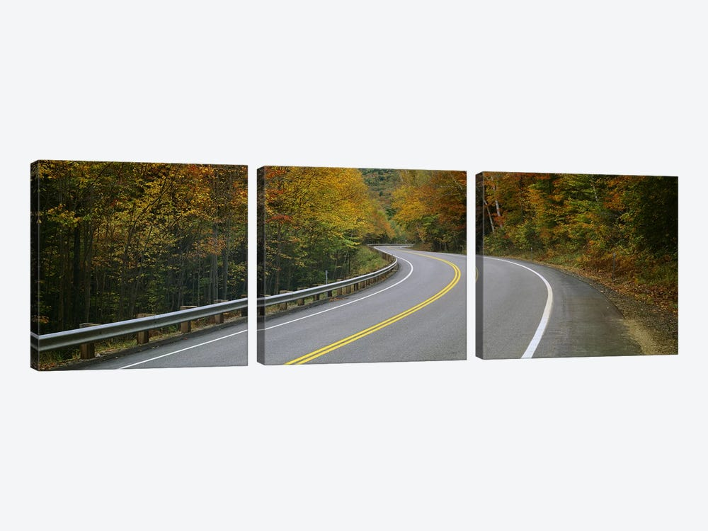 Winding Road Through An Autumn Forest Landscape, New Hampshire, USA by Panoramic Images 3-piece Canvas Artwork