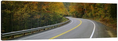 Winding Road Through An Autumn Forest Landscape, New Hampshire, USA Canvas Art Print