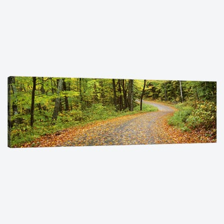 Country Road In An Autumn Landscape, Caledonia County, Vermont, USA 3-Piece Canvas #PIM6359} by Panoramic Images Canvas Wall Art