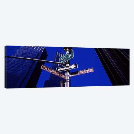 Low angle view of a street name sign, Columbus Circle, Manhattan, New York City, New York State, USA Canvas Print #PIM6361} by Panoramic Images Canvas Art Print
