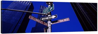 Low angle view of a street name sign, Columbus Circle, Manhattan, New York City, New York State, USA Canvas Art Print
