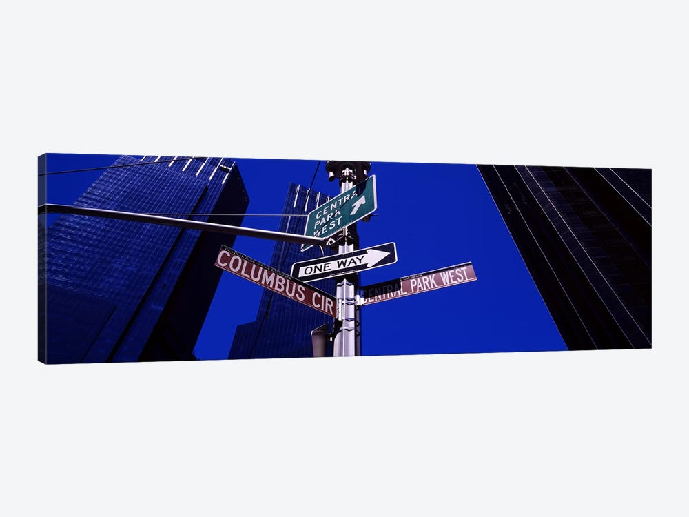 Low angle view of a street name sign, Columbus Circle, Manhattan, New York City, New York State, USA by Panoramic Images 1-piece Canvas Print
