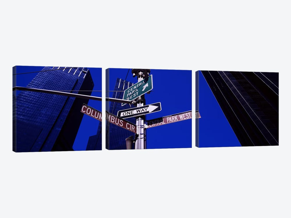 Low angle view of a street name sign, Columbus Circle, Manhattan, New York City, New York State, USA by Panoramic Images 3-piece Canvas Print