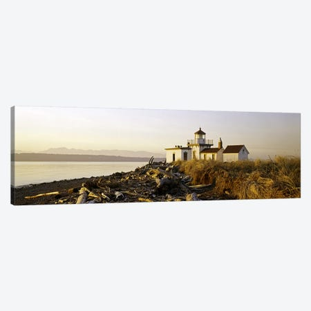 Lighthouse on the beach, West Point Lighthouse, Seattle, King County, Washington State, USA Canvas Print #PIM6366} by Panoramic Images Canvas Artwork