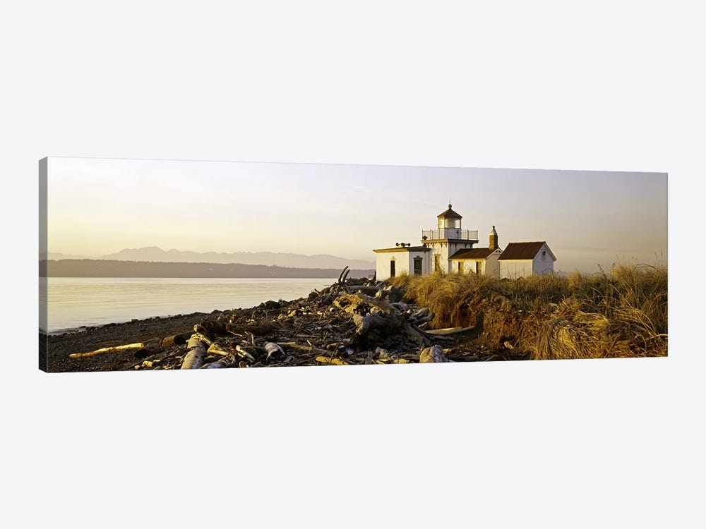 Lighthouse on the beach, West Point Lighthouse, Seattle, King County, Washington State, USA by Panoramic Images 1-piece Canvas Artwork