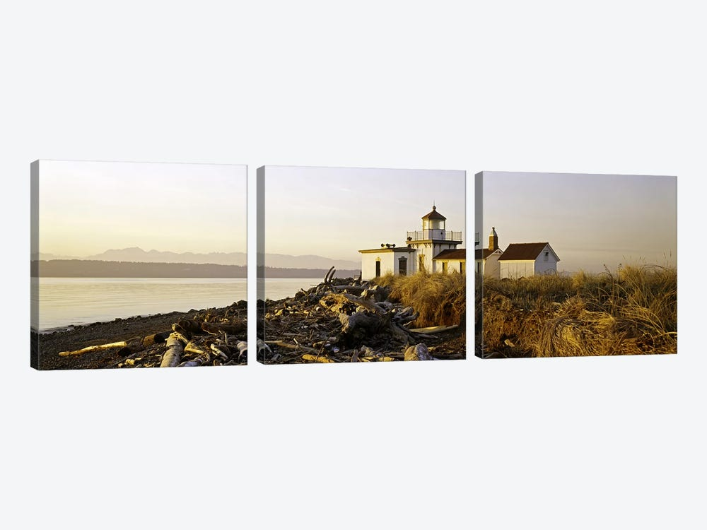 Lighthouse on the beach, West Point Lighthouse, Seattle, King County, Washington State, USA by Panoramic Images 3-piece Canvas Art