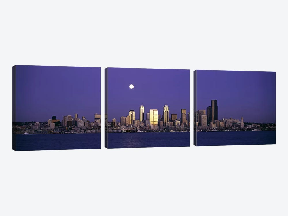 Skyscrapers at the waterfront, Elliott Bay, Seattle, King County, Washington State, USA by Panoramic Images 3-piece Canvas Art