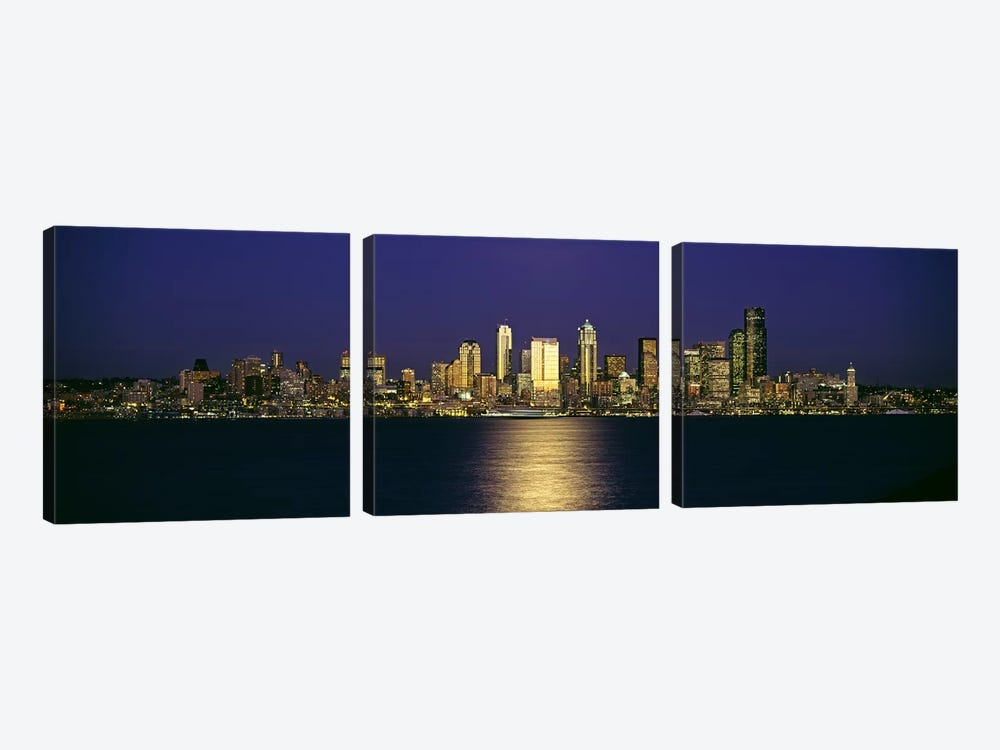 Skyscrapers at the waterfront, Elliott Bay, Seattle, King County, Washington State, USA #2 by Panoramic Images 3-piece Art Print
