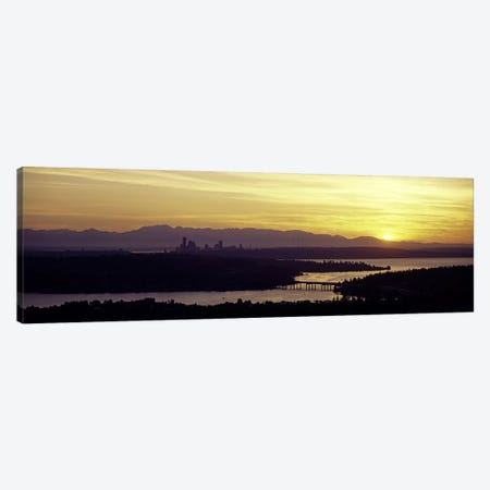 Lake in front of mountains, Lake Washington, Seattle, King County, Washington State, USA Canvas Print #PIM6373} by Panoramic Images Canvas Artwork