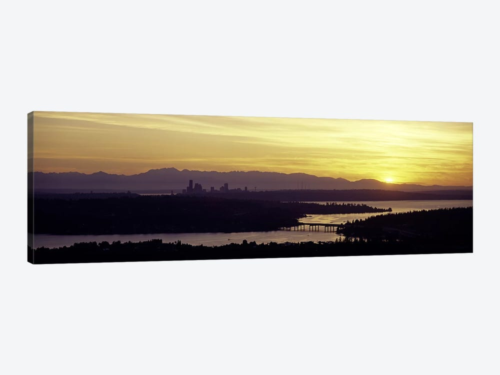 Lake in front of mountains, Lake Washington, Seattle, King County, Washington State, USA by Panoramic Images 1-piece Canvas Art