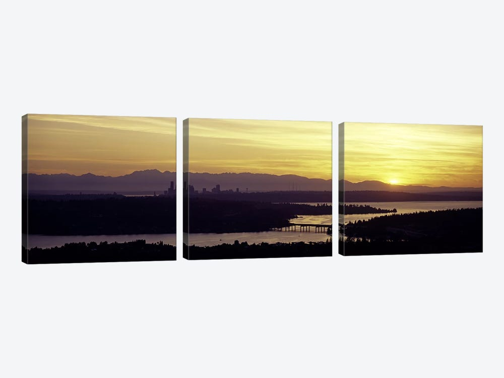 Lake in front of mountains, Lake Washington, Seattle, King County, Washington State, USA by Panoramic Images 3-piece Canvas Wall Art