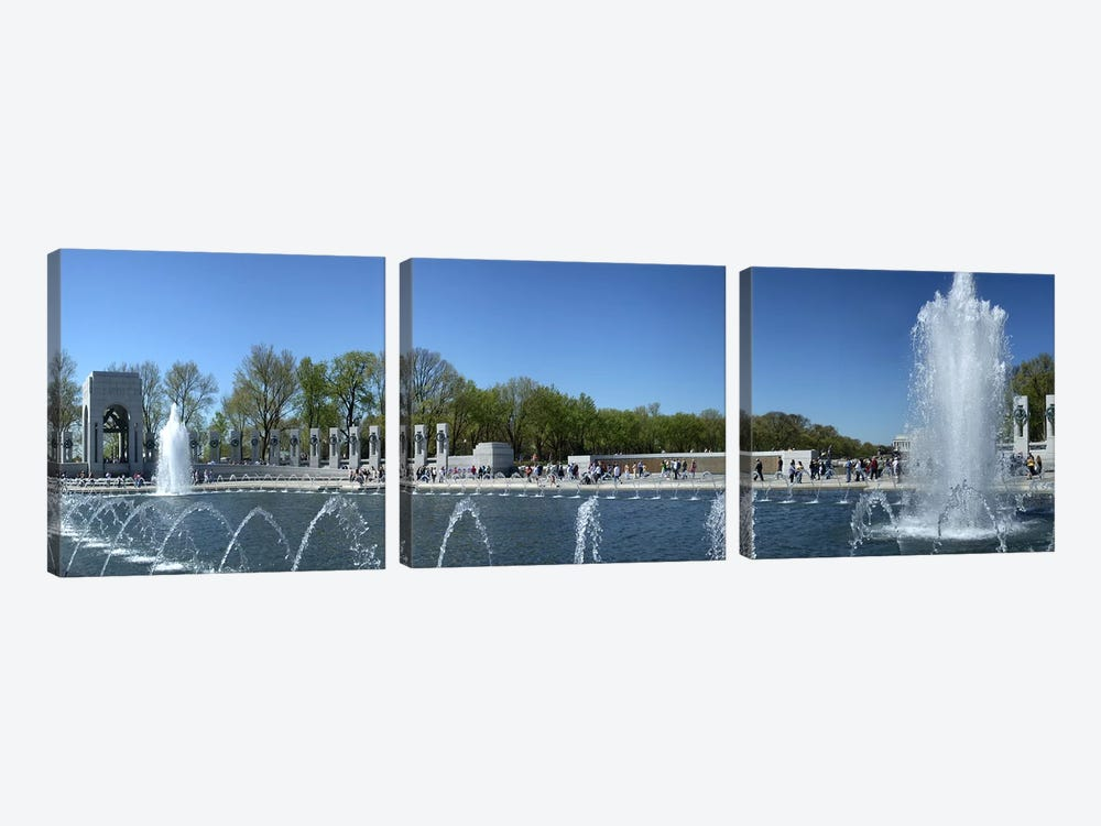 Fountain in a war memorial, National World War II Memorial, Washington DC, USA by Panoramic Images 3-piece Canvas Art Print