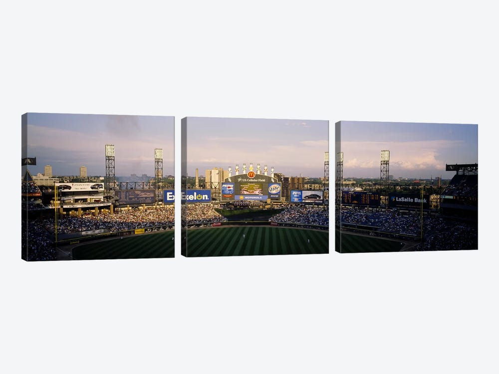 High angle view of spectators in a stadium, U.S. Cellular Field, Chicago, Illinois, USA by Panoramic Images 3-piece Canvas Art