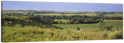Three mountain bikers on a hill, Kansas, USA Canvas Art Print