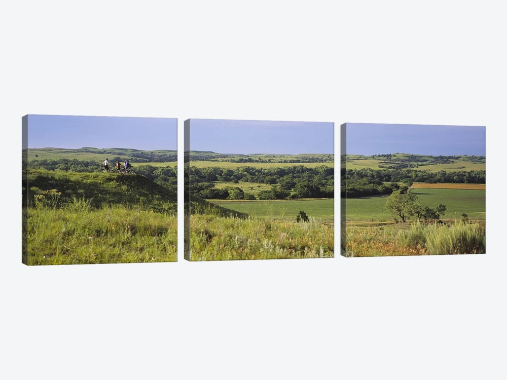 Three mountain bikers on a hill, Kansas, USA by Panoramic Images 3-piece Canvas Wall Art