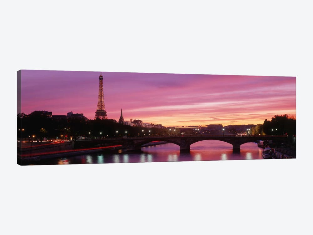 Fuchsia Sunset, Paris, Ile-de-France, France by Panoramic Images 1-piece Canvas Print