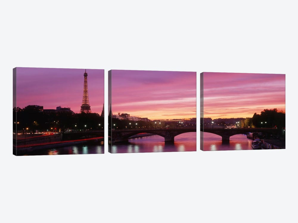 Fuchsia Sunset, Paris, Ile-de-France, France by Panoramic Images 3-piece Canvas Print